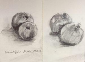 Skizze Granatäpfel